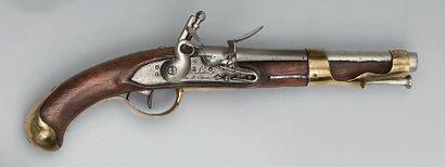 Pistolet à silex de cavalerie modèle 1763/1766, canon à deux pans latéraux puis...