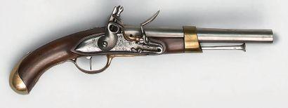 Pistolet à silex de marine modèle 1786, canon...
