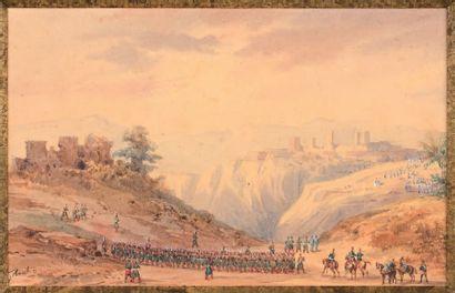 """Gaspard Gobaut (1814/1882) Paire de dessins aquarellés signés en bas à gauche: """"La..."""
