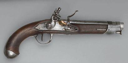 Pistolet à silex de cavalerie, canon à pans...