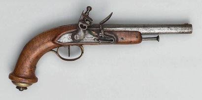 """Pistolet à silex de mameluck, canon à pans puis rond poinçonné au tonnerre: """"B""""..."""