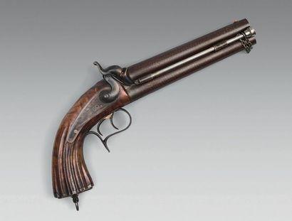 Rare pistolet à percussion d'officier d'état-major...