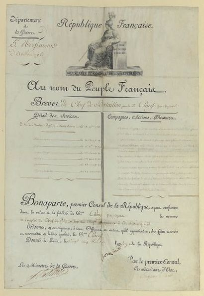 Brevet de chef de bataillon du citoyen Cuny Jean-Baptiste au régiment d'artillerie...