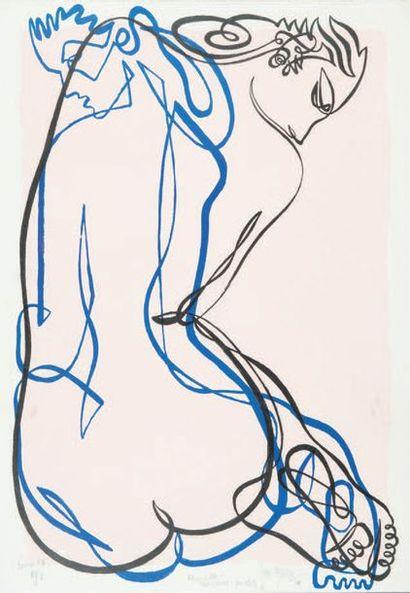 Jean NEGULESCO (1900-1993) Étude de nu (fond rose) Lithographie en couleurs, signée,...