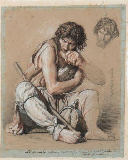 Alexandre HESSE (1806-1879) La chapelle Sainte Geneviève, Paris Deux études, crayon,...