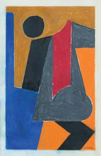 Amédée Cortier (1921-1976) Composition abstraite Gouache et aquarelle, signée en...