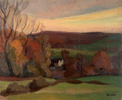 Jules Emile ZINGG (1882-1942) Campagne dans le Doubs Huile sur panneau, signée du...