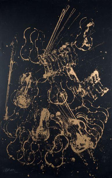 Fernandez ARMAN (1928-2005) Music - Stop N° 1, 1971 Sérigraphie imprimée sur toile,...