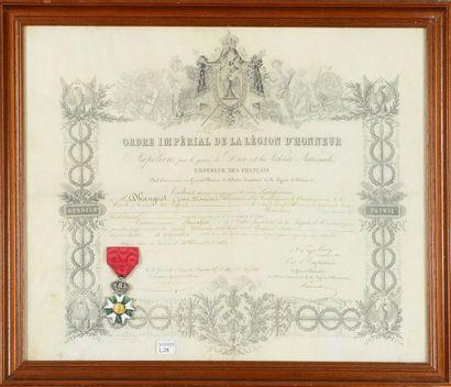 Brevet de chevalier de l'ordre de la Légion d'honneur décerné à M. Dhangest Jean-François,...