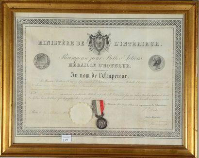 Brevet de la Médaille d'honneur du ministère...