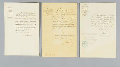 Trois lettres de nomination en partie manuscrites...