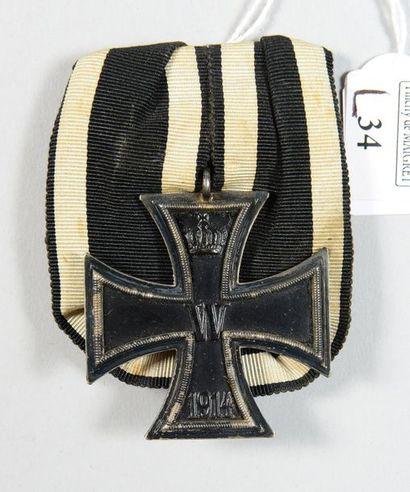 Croix de Fer allemande modèle 1914 en argent et fer émaillé noir, montée avec un...