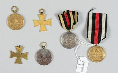 Six médailles commémoratives allemandes de la guerre de 1870/1871 et 1874. Bon ...