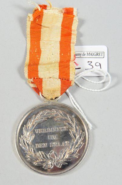 Médaille du Mérite militaire en argent (1806/1809/1814); avec un ruban blanc à...