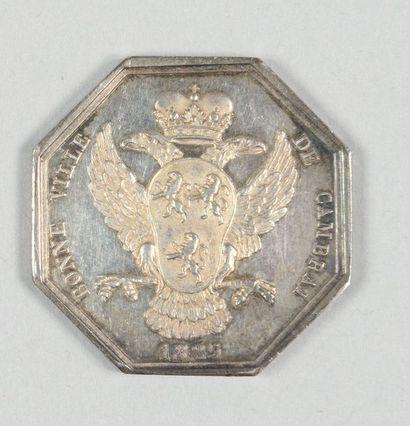 """Jeton en argent octogonal au profil de CharlesX, gravé par Barre et daté: """"1825"""";..."""