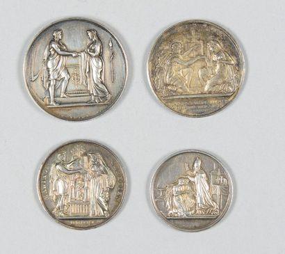 Quatre médailles de mariage en argent de...