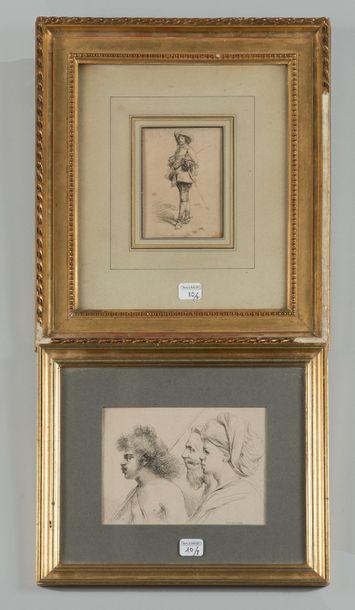 Deux gravures encadrées, l'une représentant...