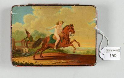 Boîte à tabac militaire en tôle peinte, d'après...