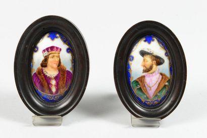 Deux miniatures ovales sur porcelaine émaillée...