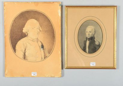 Deux dessins ovales, portraits en buste de...
