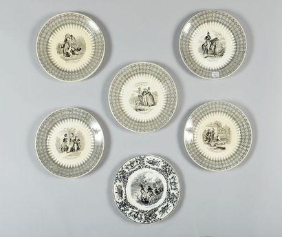 Creil et Montereau, Cinq assiettes en porcelaine...