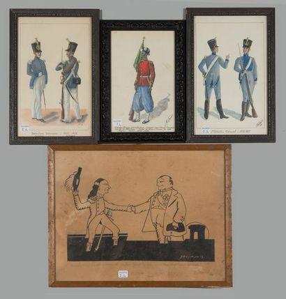 Trois gravures rehaussées à l'aquarelle:...