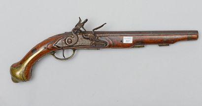 Fort pistolet militaire de cavalerie à silex,...
