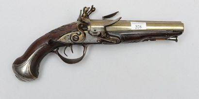 Pistolet à silex, double canon en table;...