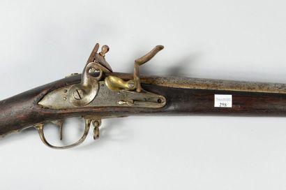 """Fusil à silex d'infanterie modèle 1777, canon poinçonné et daté: """"1789""""; platine..."""