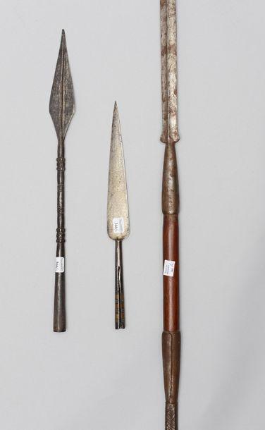 Une lance africaine avec le manche en fer...