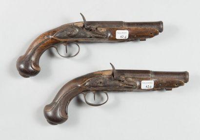 Paire de pistolets à silex d'officier, garnitures...