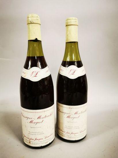 """2 bouteilles CHASSAGNE-MONTRACHET """"Morgeot"""", J. Lameloise 1982 (1 LB, 1 MB)"""