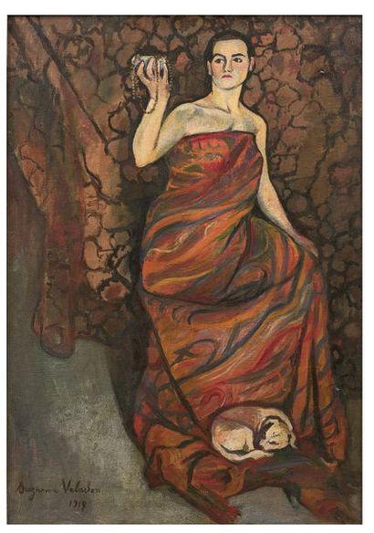 Suzanne VALADON (1865-1938) La dame au petit chien, 1917 Huile sur toile, signée...