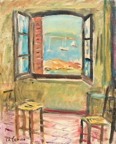 Charles CAMOIN (1879-1965) Saint-Tropez, fenêtre de l'atelier ouverte sur la mer...