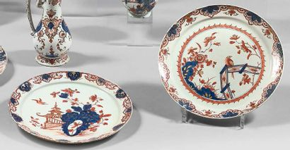 DELFT Four earthenware plates with imari decoration in blue, red and gold called...