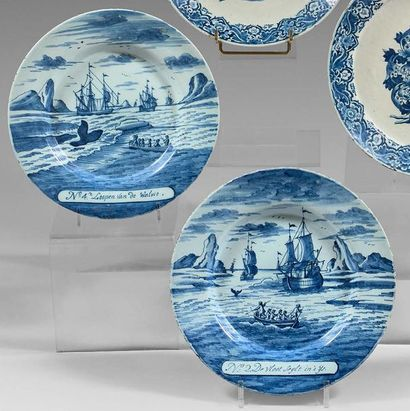 DELFT Two earthenware plates decorated in blue whale hunting monochrome. They carry...