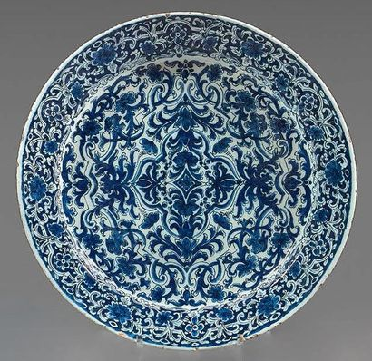 DELFT Earthenware dish with blue monochrome decoration of mantling, fantastic animals...