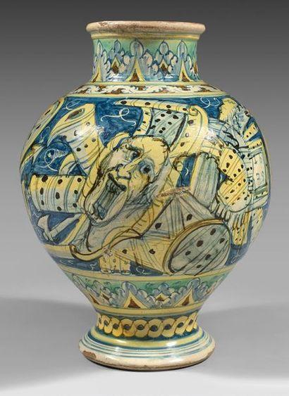 PALERME OU CALTAGIRONE Polychrome treated earthenware baluster vase with Saint Bartholomew...