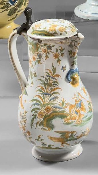LYON Covered earthenware baluster-shaped pitcher decorated in polychromy with four...