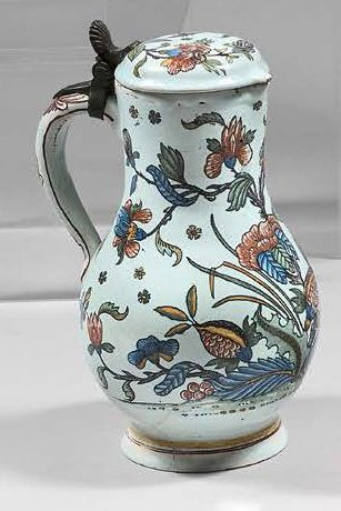 ROUEN Covered earthenware baluster-shaped jug with polychrome horn of plenty decoration...