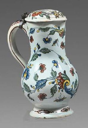 ROUEN Covered earthenware baluster-shaped pitcher with polychrome decoration known...