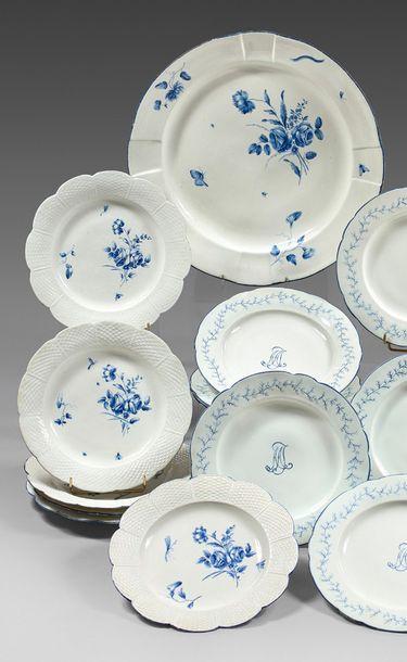 CHANTILLY Porcelain composite service part with blue monochrome decoration of bouquets...