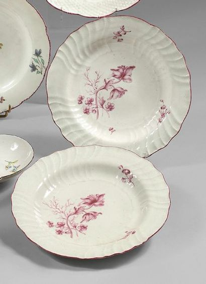 """CHANTILLY Two porcelain plates after the Meissen shape known as """"Neuozierrelief""""..."""