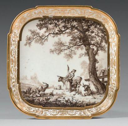 PARIS, probablement de la Manufacture du Duc d'Angoulême Porcelain breakfast tray...