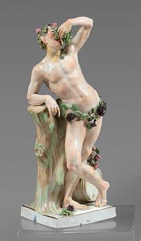 MEISSEN Four porcelain statuettes representing the Seasons, each standing on a square...