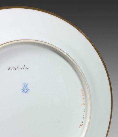 SÈVRES Porcelain plate with polychrome and gold decoration in the center of botanical...