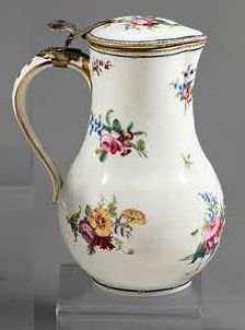 SÈVRES Baluster-shaped covered water pot in soft porcelain with polychrome floral...