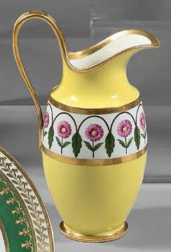SÈVRES Milk jug pestum of a breakfast in hard china on a yellow and gold ground,...