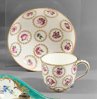 """SÈVRES Tumbler """"Bouillard"""" and its saucer in soft paste with polychrome decoration..."""