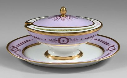 SÈVRES Oval sugar bowl in hard porcelain for a service, lilac or lavender base, wing...